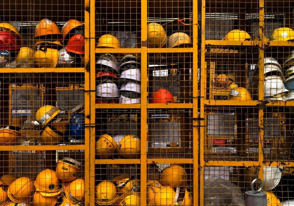 construction worker hats in bins