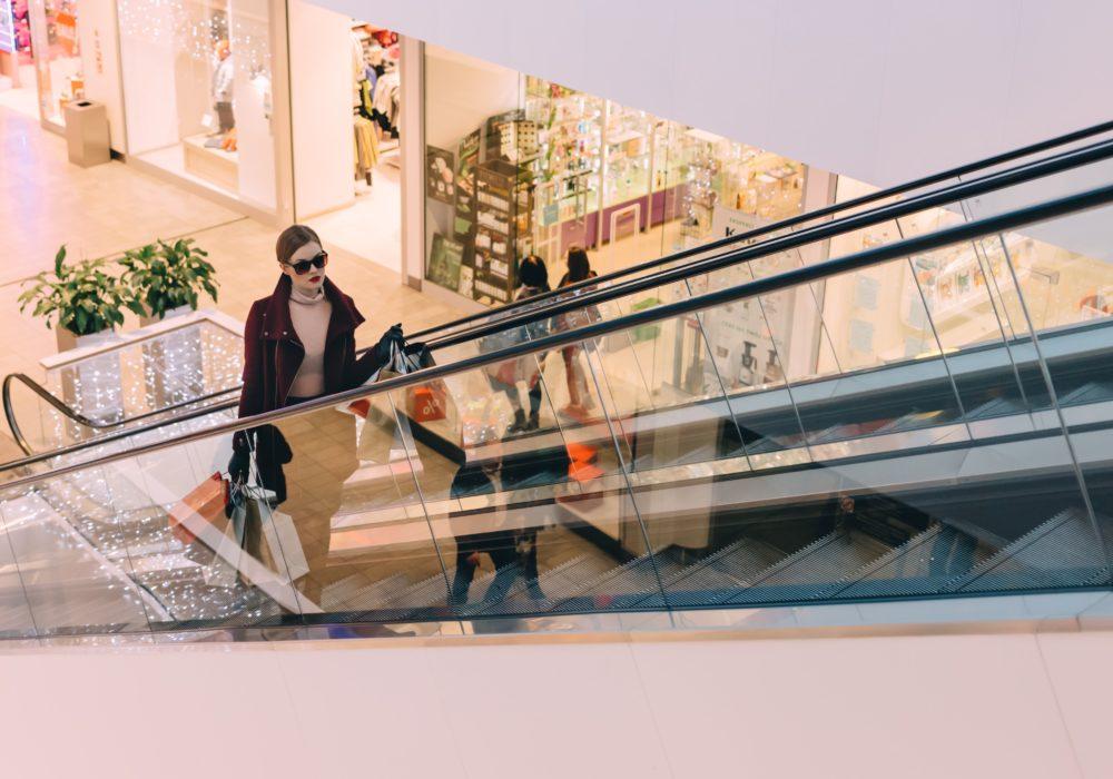 Lady on Escalator